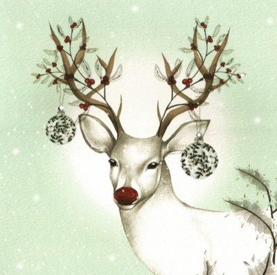 Briefkarte Weihnachtliches Rentier mit Swarovski Kristall