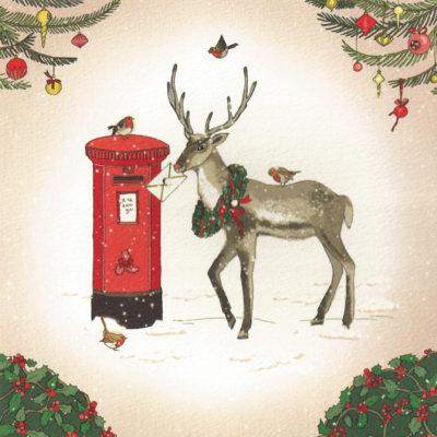 Briefkarte Weihnachtliches Rentier Postkasten mit Swarovski Kristall