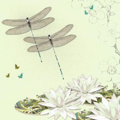 Briefkarte Libellen und Seerosen mit Swarovski Kristall