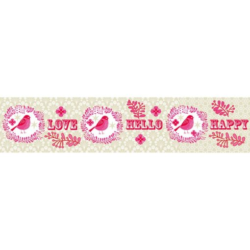 Overbeck and Friends Paketband Love Grün-Rosa
