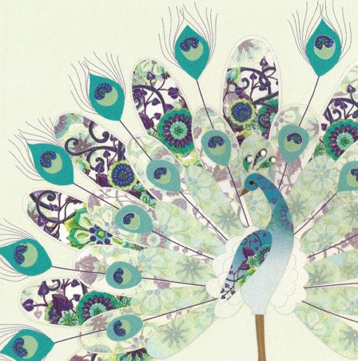Briefkarte Pfau mit Swarovski Kristall