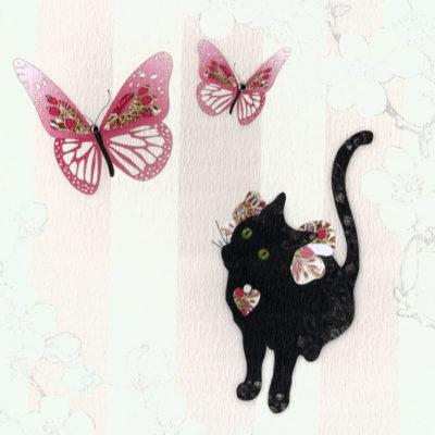 Briefkarte Katze mit Schmetterlingen mit Swarovski Kristall