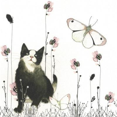 Briefkarte Katze mit Schmetterlingen und Blumen mit Swarovski Kristall