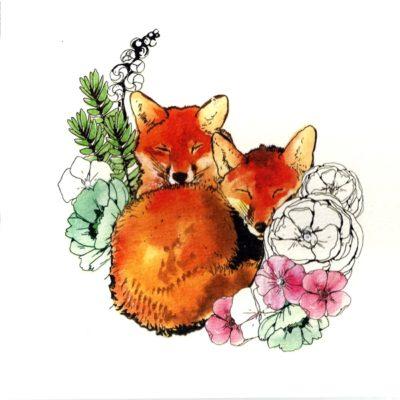 Briefkarte Weihnachtliche Füchse mit Swarovski Kristall
