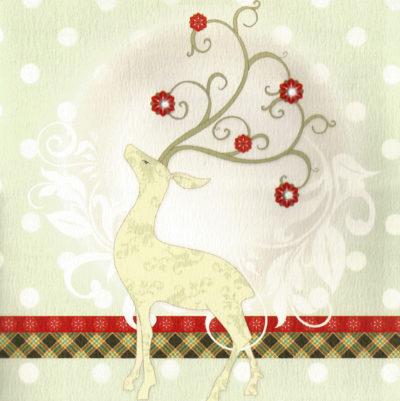Briefkarte Weihnachtliches Rentier Klassisch mit Swarovski Kristall