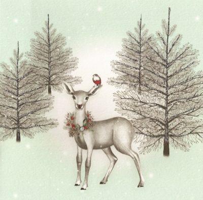 Briefkarte Weihnachts-Reh im Wald mit Swarovski Kristall