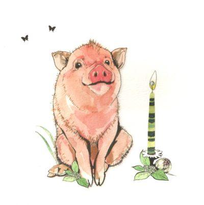 Briefkarte Geburtstags-Schweinchen mit Swarovski Kristall