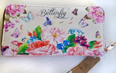 vegane Geldbörse mit Schmetterlingen und Blumen