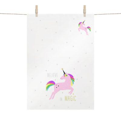 Pink Unicorn Weißes Geschirrtuch